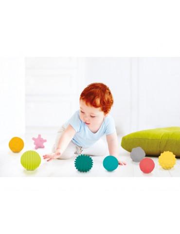 Pack de 8 pelotas sensoriales que se prestan a una multiplicidad de juegos.